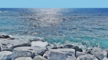 Uitzicht vanaf de Golfbreeker bij Sestri Levante in Italië - Schilderij