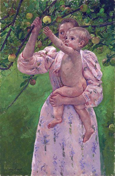 Mary Cassatt, Kind Plukt Fruit - 1893 van Atelier Liesjes