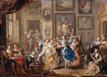 Dansende scène met paleisinterieur, Johann Georg Platzer...