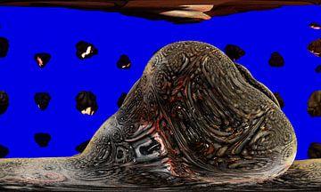 Pierre de fusion devant une météorite en pleurs sur Frank Heinz
