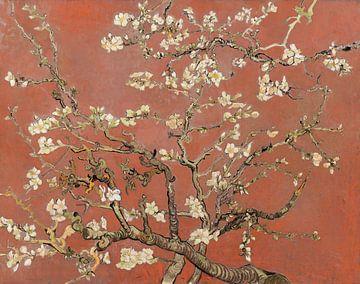 Amandelbloesem van Vincent van Gogh (koraal, kleur van het jaar 2019) van Meesterlijcke Meesters
