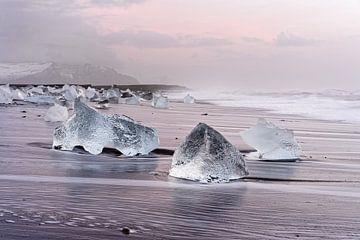 Morning light on the black ice beach sur