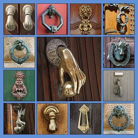 Collage van allerhande antieke deurkloppers van Gert van Santen