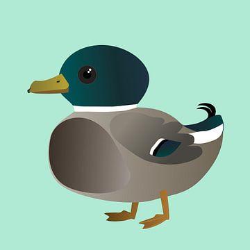 Niedliche männliche Ente von Bianca Wisseloo