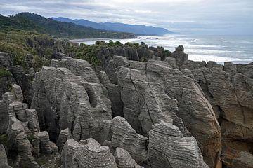 Pancake rocks bij Punakaiki in Nieuw Zeeland van Aagje de Jong