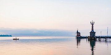 Pêcheur à la ligne à Constance sur le lac de Constance sur Werner Dieterich