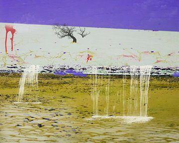 Surrealistisch landschap met watervallen van Rietje Bulthuis