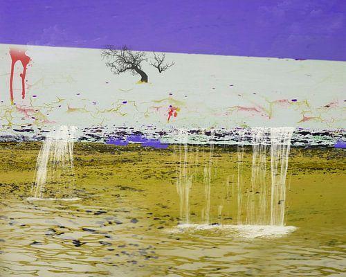 Surrealistisch landschap met watervallen