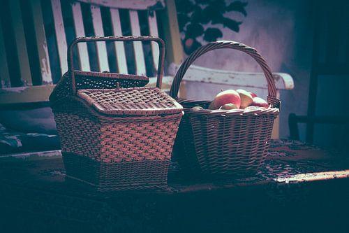 Picknickmanden in de zon van