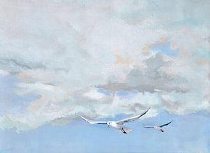 Zachte lucht met meeuwen van Yvon Schoorl