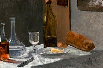 Stilleben mit Flasche, Karaffe, Brot und Wein, Claude Monet