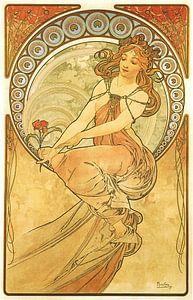 Kunst: Schilderen - Art Nouveau Schilderij Mucha Jugendstil