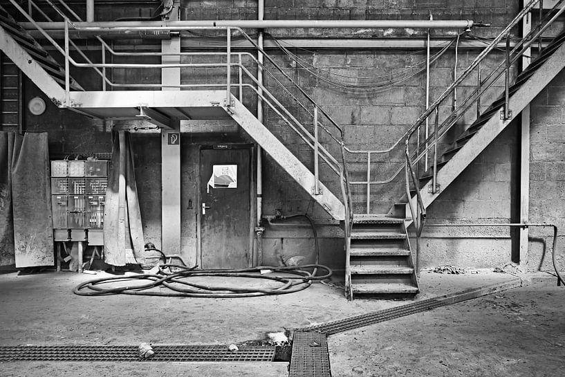 Industrieel: Stairs in  an old factory van Silvia Thiel