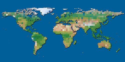 Carte du monde aux blocs sur