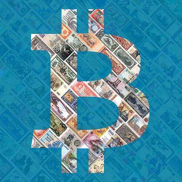 """""""Bitcoin over bills""""  (in blauw) - Bitcoin kunst - logo achter oude, opgeschorte bankbilje van Roger VDB"""