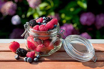 Bosvruchten in glazen pot van Ivonne Wierink