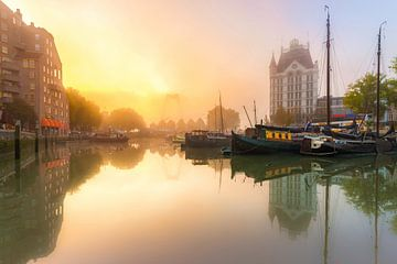 Oudehaven met mist