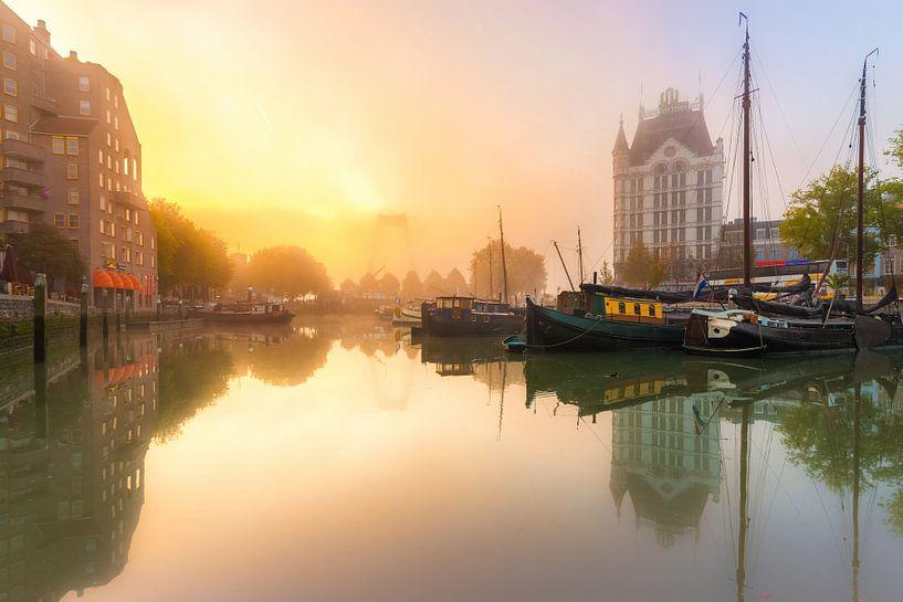 Oudehaven met mist van Prachtig Rotterdam