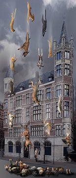 Es regnet in Strömen, keine Tiere wurden bei dieser Kreation verletzt. von Dray van Beeck