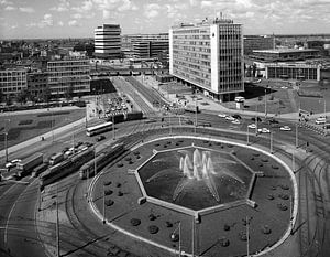 Rotterdam Hofplein Fontein  juli 1972 van Roel Dijkstra