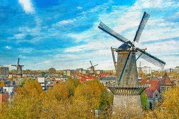Malerisierung Windmühlen Schiedam von Frans Blok