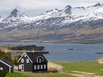 Zwart houten huisje IJsland van Martin van den Berg Mandy Steehouwer