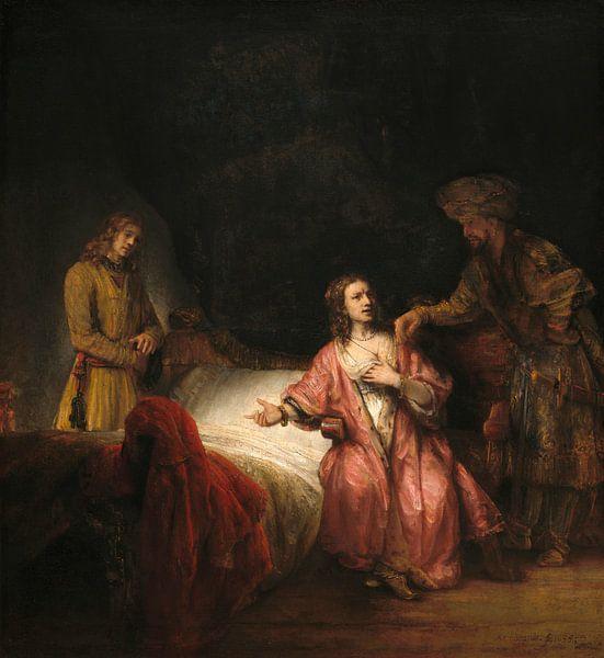 Joseph beschuldigd door de vrouw van Potifar, Rembrandt van Rembrandt van Rijn