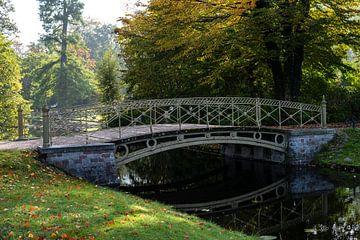 Passerelle piétonne au-dessus d'un canal dans le parc du château de Schwerin par une journée d'autom