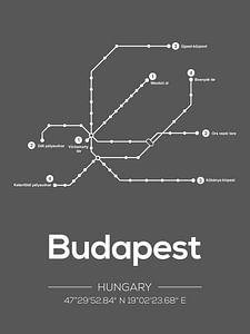 Budapest Metrolinien - Dunkelgrau