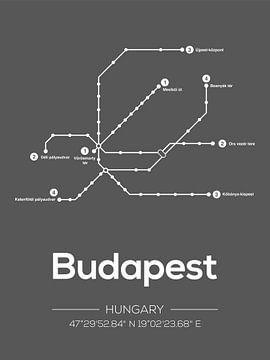 Lignes de métro de Budapest - Gris foncé sur