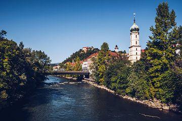 Graz - Mur und Franziskanerkirche von Alexander Voss
