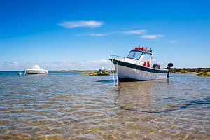 witte boot op het strand van Youri Mahieu