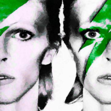 Motiv David Portrait Bowie Soft Kubismus  - Green van Felix von Altersheim