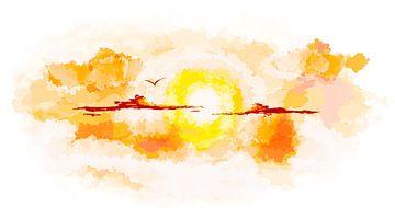 Zonsondergang. Vogel boven de wolken. van S.W. Colors
