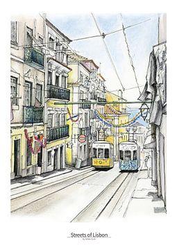 Lissabon Poster 5 - Straßenbahn von Chiado