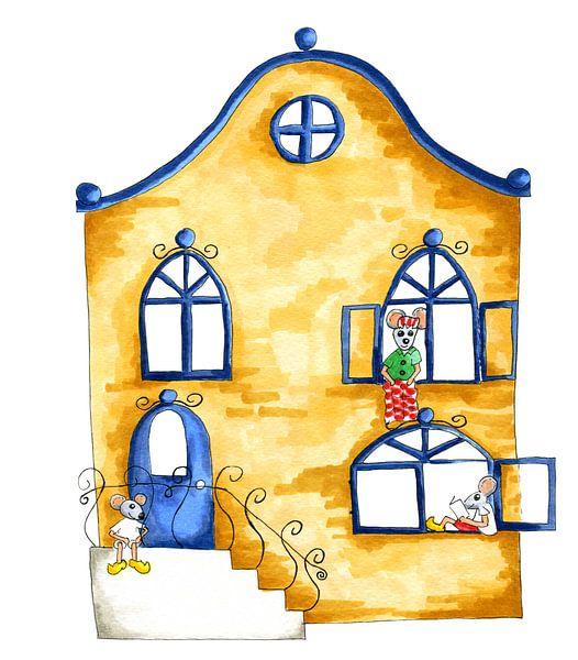 Illustratie woning met muizen van Ivonne Wierink