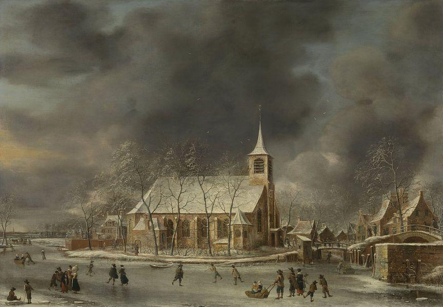 Gezicht op de kerk te Sloten in de winter