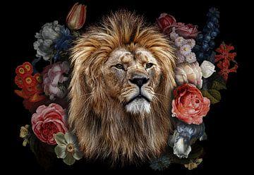 Löwenkopf in den Blumen von John van den Heuvel