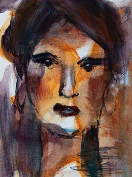 Abstract portret vrouw in bruin oranje wit van Bianca ter Riet