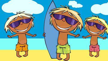 3 Surfer am Strand von Henny Hagenaars