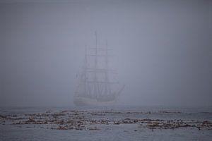 Antarctica South Georgia Bark Europa in mist