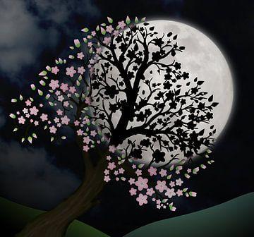 Bloesemboom in de nacht van Bianca Wisseloo