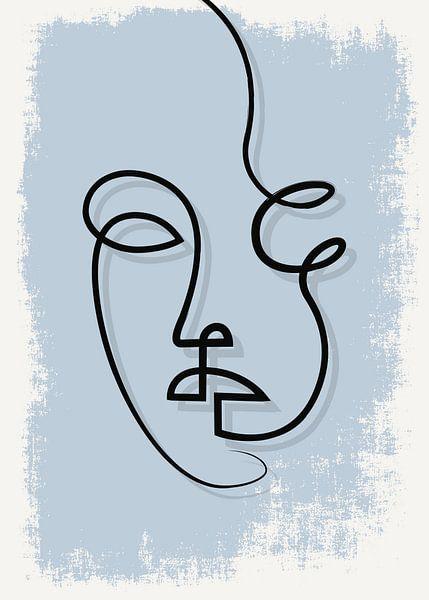 Porträt/Linienzeichnung blau von Color Square