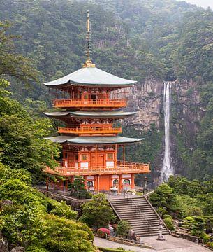 Une belle vue sur la pagode de Seigantoji et la cascade de Nachi no Taki au Japon. sur Claudio Duarte