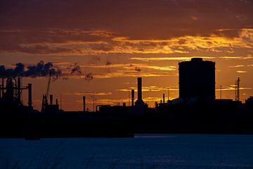 Sunset behind Factory van
