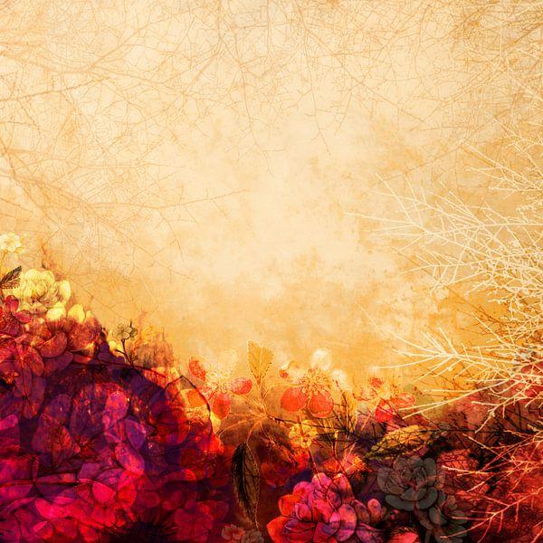 LOVELY FLOWERS KISSING A YELLOW FIELD II van Pia Schneider