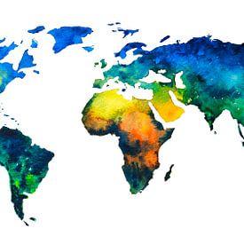 Kleurrijke Wereldkaart in Aquarel van - Wereldkaarten.shop -