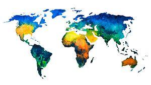 Bunte Weltkarte in Aquarellfarbe von - Wereldkaarten.shop -