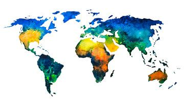 Carte du monde coloré à l'aquarelle sur - Wereldkaarten.shop -