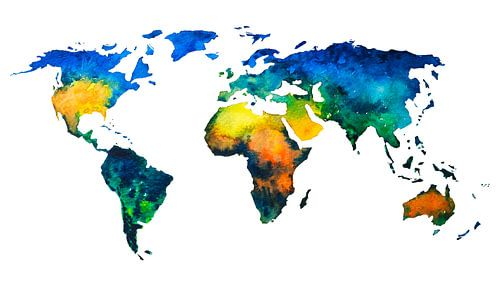 Carte du monde en couleurs à l'aquarelle sur - Wereldkaarten.shop -